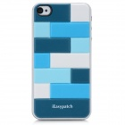 iEasypatch 3D Geometric Pattern Soft Foam Back Sticker for iPhone 4 / 4S - Blue + White