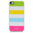 iEasypatch 3D Geometric Pattern Back Sticker for Iphone 4 / 4S - Yellow + White + Blue + Deep Pink