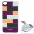 iEasypatch 3D Geometric Pattern Back Sticker for Iphone 4 / 4S - Purple + Bisque + Black + White