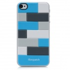 iEasypatch 3D Geometric Pattern Back Sticker for iPhone 4 / 4S - Blue + White + Black + Grey