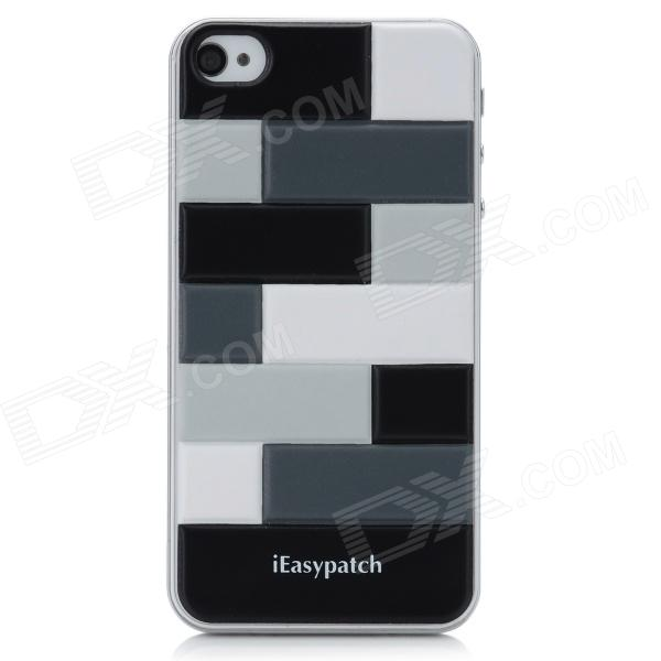 iEasypatch 3D Geometric Pattern Soft Foam Back Sticker for iPhone 4 / 4S - White + Black + Grey