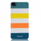 iEasypatch 3D Geometric Pattern Back Sticker for Iphone 4 / 4S - Yellow + White + Orange + Blue