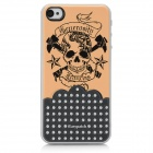iEasypatch 3D Skull Pattern Soft Foam Back Sticker for Iphone 4 / 4S - Sandy Brown + Black