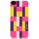 iEasypatch 3D Geometric Pattern Back Sticker for Iphone 4 / 4S - Yellow + White + Deep Pink + Purple