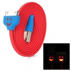Smile Flat USB 2.0 Male to 30-Pin Data / Charging Cable for iPhone / iPad / iPod - Red (100cm)