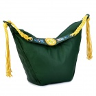 VEMO Ethnic Style PU Leather Lady's Shoulder Bag - Deep Green + Yellow