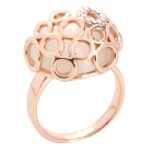 Fashion Hollow-Out Copper Aluminum Alloy Opal Ring - Golden