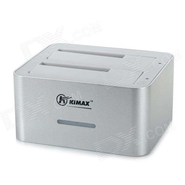 KIMAX BS-HD07 U3 USB 3.0 Dual Bay SATA HDD Docking Station - Silver + White