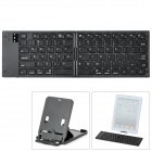 80-Key Plastic Bluetooth V3.0 Wireless Keyboard w/ Stand for Tablets / iPhone / iPad + More - Black
