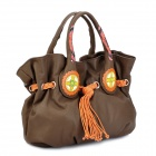 VEMO Ethnic Style PU Leather Lady's Hand Bag - Brown + Orange