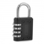 Mini 4-Digit Zinc Alloy Security Resettable Combination Lock - Black