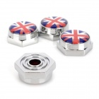 UK National Flag Pattern Universal Metal License Plate Bolt Screw Caps for Car (4 PCS)