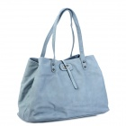 BiBi Lady's Concise PU Leather Shoulder Bag - Pigeon Blue