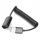USB 2.0 Male to Female Spiral Spring Extension Cable - Black (80cm)
