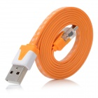 USB Male to Micro USB Male Data Charging Cable w/ Blue Light Lamp - Orange (100cm)