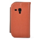 Lichee Pattern Protective PU Leather Case for Samsung Galaxy S3 Mini - Dark Brown