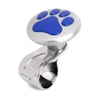 Footprints Pattern Car Truck Aluminum Alloy Steering Wheel Spinner Knob Handle - Blue + Silver