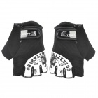VGO Outdoor Bike Cycling Nylon Half Finger Protection Glove - Black + White (Size XL / Pair)