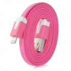 I1302 Flat USB 2.0 Male to 8-Pin lightning Male Data / Charging Cable for iPhone 5 - Pink (100cm)
