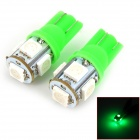 T10 3.5W 65lm 5-5050 SMD Green LED Motorcycle Brake / Turning / Tail Lamp (12V / 2PCS)
