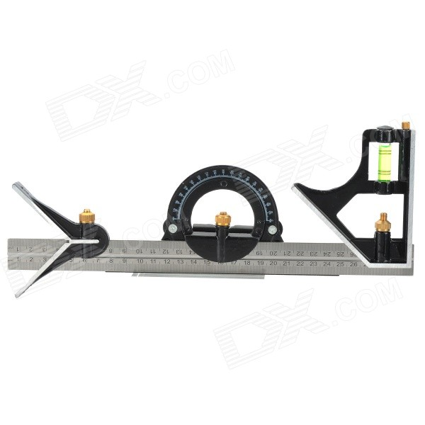 Stainless Steel Movable Combination Angle Square Set w/ 180 Degree Protractor - Silver + Black