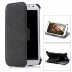 Protective PU Flip-Open Case w/ Stand for Samsung Galaxy Note 2 / N7100 - Dark Grey