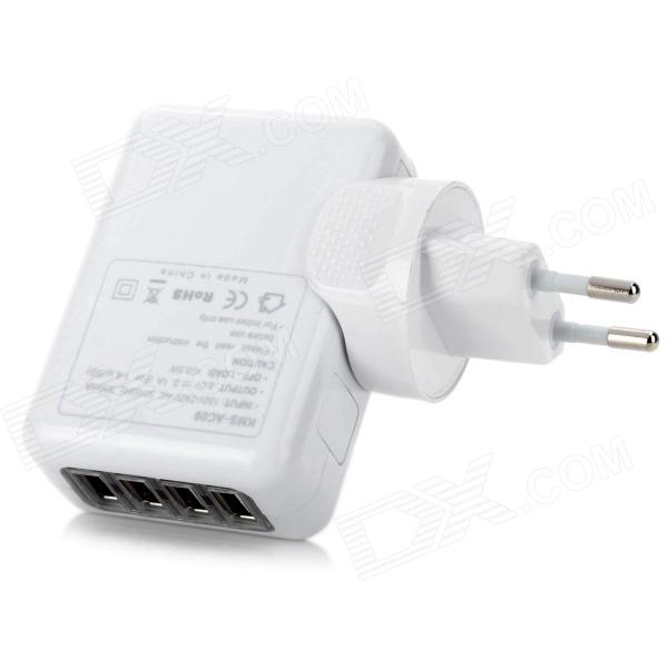 4-Port USB 5V 2.1A EU Plug Power Adapter - White