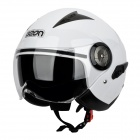 BEON H-12 Harley Style Dual-Lenses UV Protection Anti-Glare Motorcycle Helmet - White (Size XL)