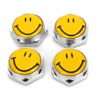 D12111904X Smile Face Universal Metal License Plate Bolt Screw Caps for Car - Yellow (4-Piece Pack)