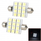 SJ50-41-12W Festoon 41mm 2.16W 240lm 12-SMD 5050 LED White Light Car Lamp - White (12V / 2 PCS)