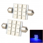 SJ50-41-12B Festoon 41mm 2.16W 240lm 490nm 12-SMD 5050 LED Blue Light Car Lamps - White (12V / Pair)