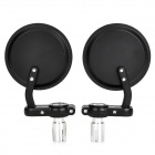 DIY Round Motorcycle Aluminum Alloy Rear Back Rearview Mirrors - Black + Silver (Pair)