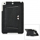 Litchi Pattern Protective PU Leather Cover w/ Holder for Ipad MINI - Black + White