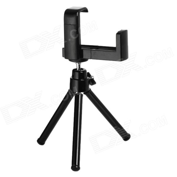 Mini Adjustable Retractable TrIpod Stand Holder for Iphone5 /4 / 4S / Camera / Mobile Phone - Black universal swivel tripod stand holder for cell phone camera black