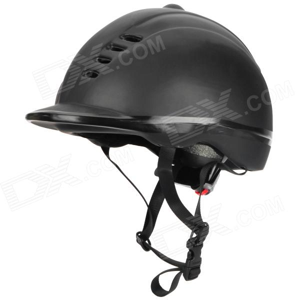 MOON MS-1 PVC + EPS Equestrian Helmet w/ Regulator + Adjustable Strap - Black
