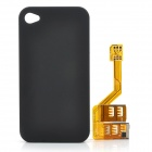 Triple SIM Cards Adapter w/ Protective Back Case for Iphone 4 / 4S - Yellow + Black