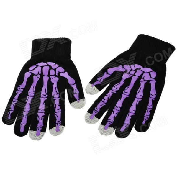 Skull Pattern 3-Finger Capacitive Screen Touching Hand Warmer Gloves - Black + Purple