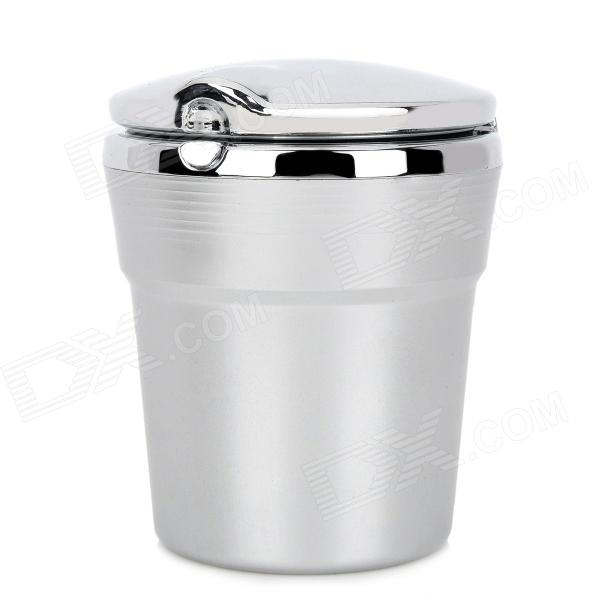 Chromium Plating Cup Shaped Ashtray Dust Bin w/ Blue LED Light for Car - Grey + Silver (1 x CR2032) ashtray