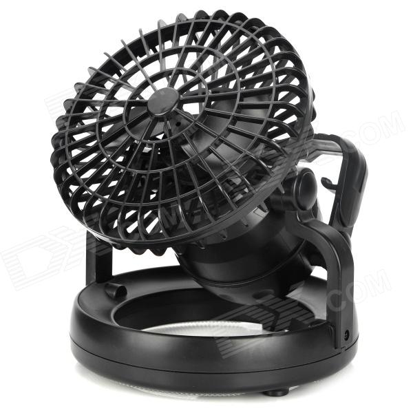 2-in-1 Outdoor Camping Electric 2W 60lm 6500K 18-LED White Light Celling Fan Lantern - Black