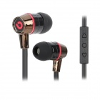 BIDENUO G360 Stylish In-ear Earphones w/ Microphone - Red + Black (3.5mm Plug / 127cm)