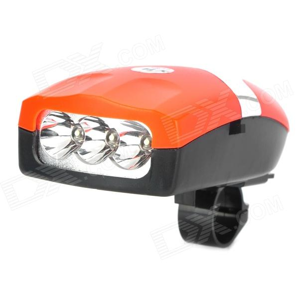 Bike Electronic Plastic Horn Warning Headlight Bell w/ Support - Orange