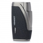 Dual Flame Wind Proof Butane Gas Lighter - Grey + Black