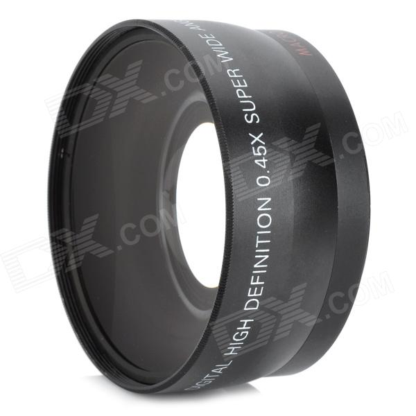 55mm 0.45X Wide Angle Conversion Lens w/ Macro for Cameras / Camcorders - Black futin 37mm wide angle 0 45x aluminum macro lens attachment for digital cameras
