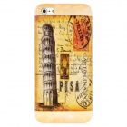 Retro Stamp Leaning Tower of Pisa Pattern Protective Back Case for Iphone 5 - Orange + Grey