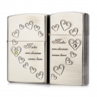 JinJian 4795 Combination Love Pattern Oil Lighters for Couple - Silver (2 PCS)