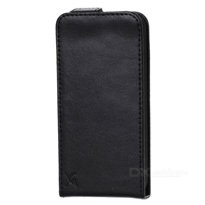 Protective Top-Flip Genuine Leather Case for Iphone 5 - Black