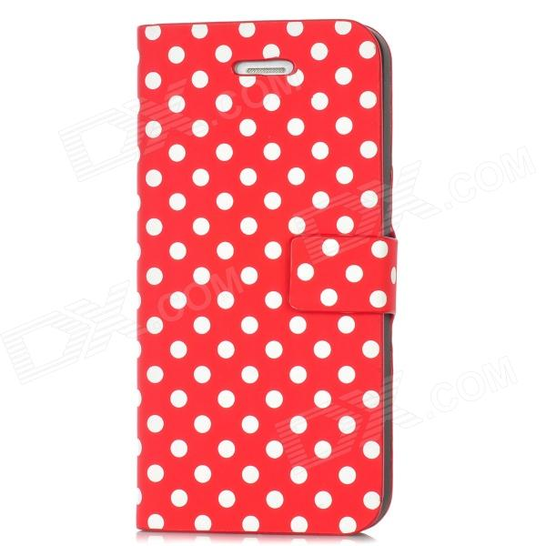 Polka Dots Pattern PU Leather Flip-Open Protective Case for Iphone 5 - Red red polka dots pattern wallet leather stand shell for iphone 6s 6