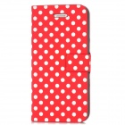 Polka Dots Pattern PU Leather Flip-Open Protective Case for Iphone 5 - Red