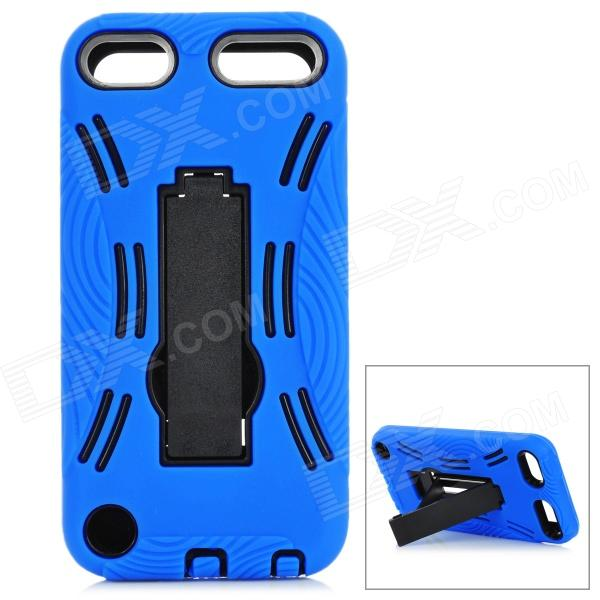 Detachable Protective ABS Back Case w/ Silicone Cover & Stand for iPod Touch 5 - Blue