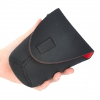 Protective High Elastic Waterproof Cloth Bag for DSLR Camera Lens- Black + Red (Mid-sized)